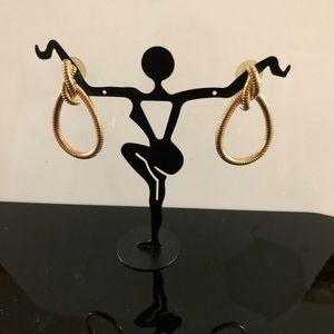 Gold-Tone Rope Design Earrings